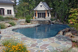 Patio, Outdoor Pool, and Poolhouse